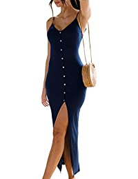 Women's Button Down Adjustable Spaghetti Straps Summer Dress Sleeveless Bodycon Party Maxi Dress