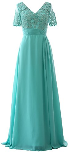Turquoise Formal Dress of Evening Gown Lace Long MACloth Short Sleeves Mother Bride the 7pPS66