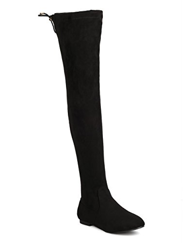 Women Faux Suede Thigh High Boot - Casual, Dress Up, Clubbing - Drawstring Flat Boot - Viola-14 By Heart.thentic - Black (Size: (2)
