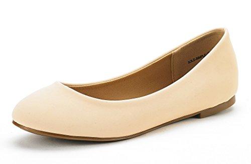 (DREAM PAIRS Women's Sole Simple Nude Nubuck Ballerina Walking Flats Shoes - 7.5 M US)