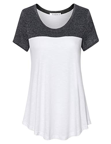 - Liamluna Women's Round Neck Color Block Flowy T Shirt Casual Blouse Black White XL