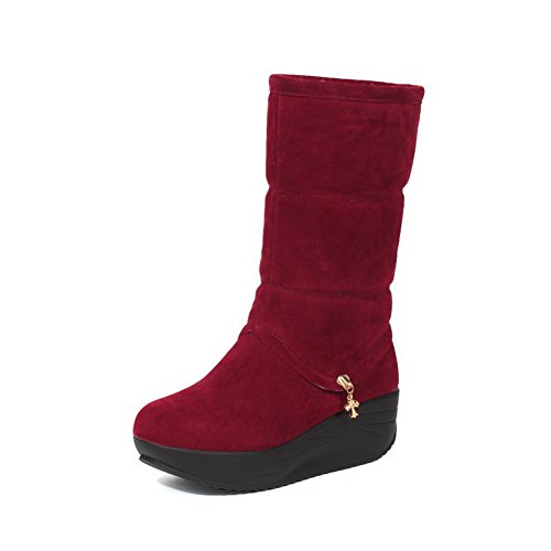Round Women's Toe Kitten On Closed Red Solid Frosted Boots Pull AgooLar Heels pIYwxYT