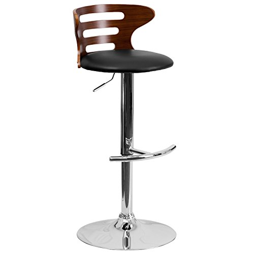 Flash Furniture Walnut Bentwood Adjustable Height Barstool with Cutout Back and Black Vinyl Seat Commerce Low Back Swivel