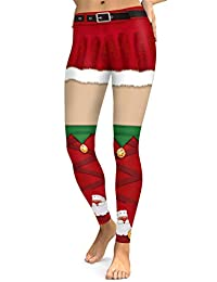 URVIP Womens High Waist Christmas Print Active Workout Stretch Leggings Tights