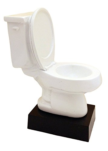 [White Toilet Bowl Trophy - Cool Last Place Recognition - Made with Sturdy Polyresin Material - Funny Award for Best of the Worst - Custom Engraving Available - Premium Quality Trophy - Decade] (Funny Award Ideas)