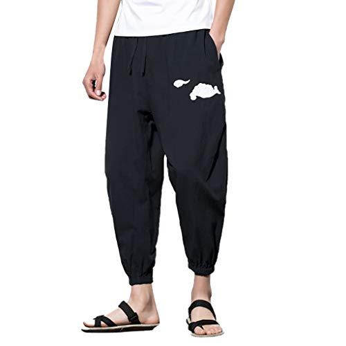 ZEFOTIM Pants for Men Summer Fashion Leisure Cotton and Linen Embroidery Loose Calf-Length Pants(Black,Large)