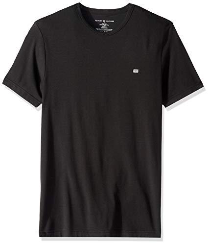 Tommy Hilfiger Men's Undershirts Cotton Premium Crew Neck T-Shirts, Black, Large