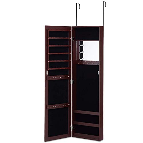 Giantex Wall Door Mounted Mirrored Jewelry Cabinet Jewelry Armoire Storage Organizer with Full Length Mirror (Reddish Brown)