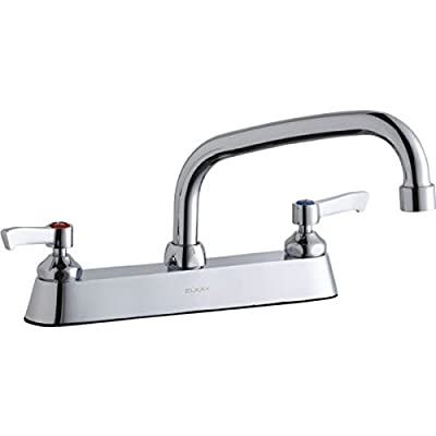 """Elkay LK810AT08L2 Chrome Exposed Deck Faucet with 8"""" ArcTube Spout and 2"""" Lever Handles"""