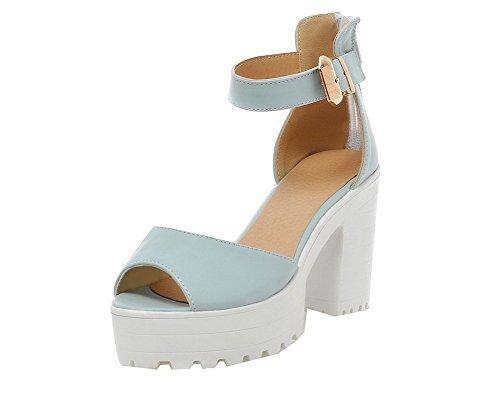 tacco alto Sandali Zipper Toe Pu Aalardom Open Dress blu Women q6t4C