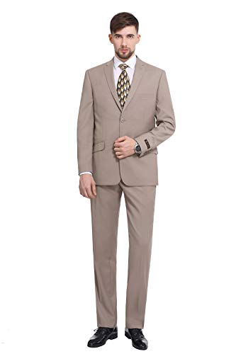P&L Men's Premium Slim Fit 2-Piece Suit 2 Button Blazer Jacket & Flat Pants Set Tan