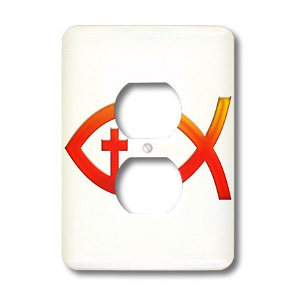 3dRose lsp_41752_6 Christian Fish Symbol with Cross (Red) 2 Plug Outlet Cover