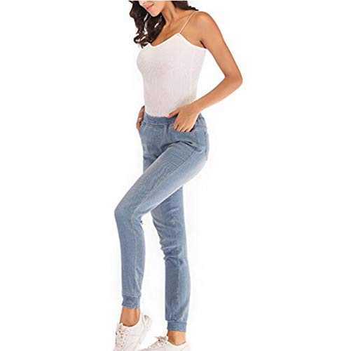 Elastica Hibasing Traspiranti A Azzurro Eleganti In Semplici vita Da Jeans Vita Donna Pantaloni Mid Sottile Casual rqO4r