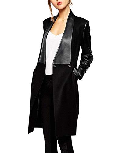 Donna Calda Coat Slim Giacca Autunno Bavero Outerwear Casual Cappotto Fit Manica Bobo Nero Eleganti Schwarz Invernali Especial Lunga 88 Estilo Giaccone zqxvxFEwA
