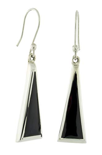 Sterling Silver With Inlay Reconstituted Stone Dangling Long Triangle Earrings, Black - Inlay Sterling Silver Triangle Earrings