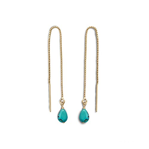 Threader Chain Earrings 14k Gold-filled with Reconstituted Turquoise Bead (Gold Filled Chain Earrings)