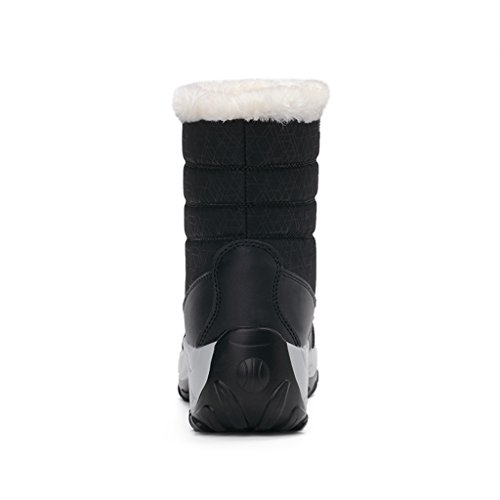 Boots Lining Ankle winter Boots Waterproof JACKSHIBO Snow Black Women's Fur CRxwqn78