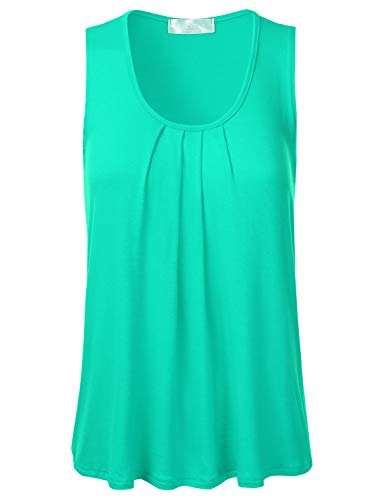 Shell Mint - FLORIA Womens Round Neck Pleated Front Sleeveless Stretchy Blouse Tank Top Mint 1XL