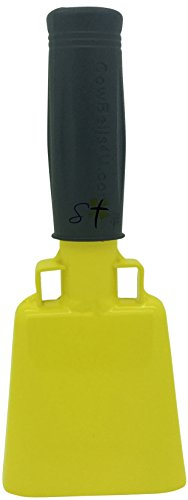 6.1 inch Yellow Bell Black Handle Cowbell with Stick Grip Handle Used for Cheering at Sporting Events - Cow Bell by Stewart TradingTM -