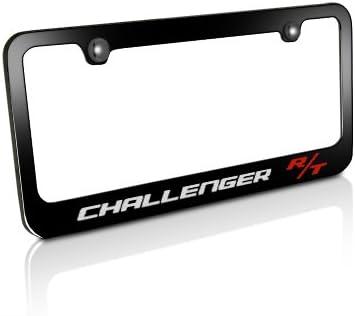 CarBeyondStore Dodge Challenger RT Classic Logo Black Metal License Plate Frame