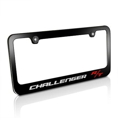 dodge-challenger-r-t-black-metal-license-plate-frame