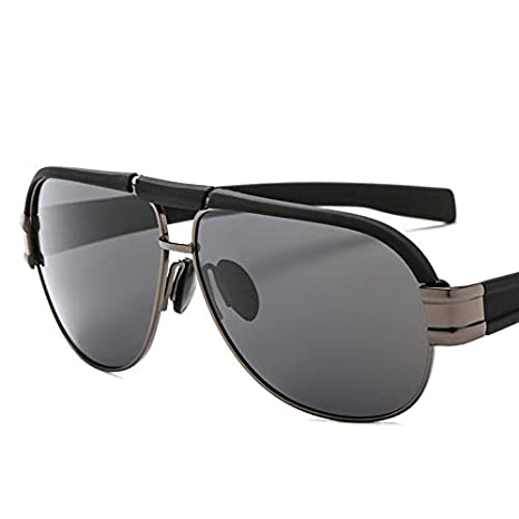 c6107768a61 YJiaJu Retro Eyebrow Polarized Sunglasses Inside Blue Film Driver Pilot Polarized  Sunglasses for Women Men (