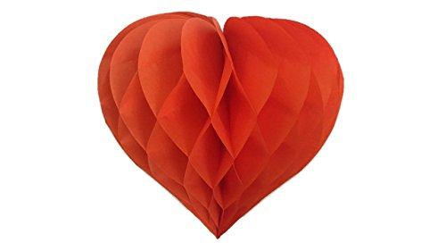 Matissa Pack of 3 Valentines Decoration Heart Shaped Paper Honeycomb Birthday Party Wedding Available in 11 Colours 3 Sizes (All Orange, 8