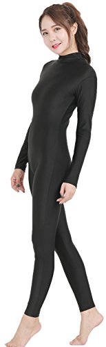Speerise Adult High Neck Zip One Piece Unitard Full Body Leotard, L, Black -