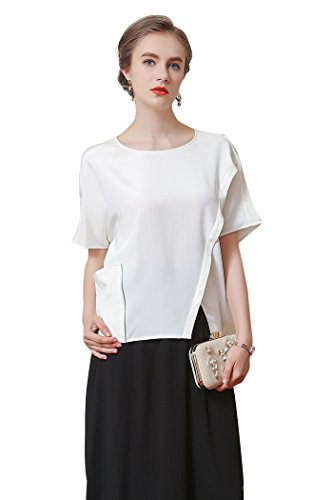 VOA Women's White Scoop Neck Short Sleeve Tshirt Silk Blouse Top Pullover B7086 -