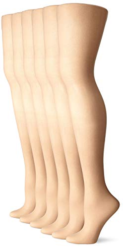 No Nonsense Women's Sheer To Waist Toe Pantyhose 6-Pack, Nude, A ()