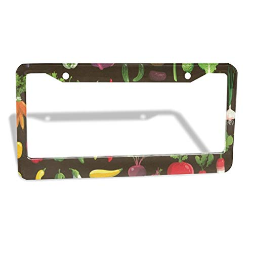 Love beautiful Vegetable Hodgepodge Plate Frame 2pcs Newest Matte Aluminum Alloy License Plate Frame, Applicable to US Standard Car License Frame 2 Holes 12