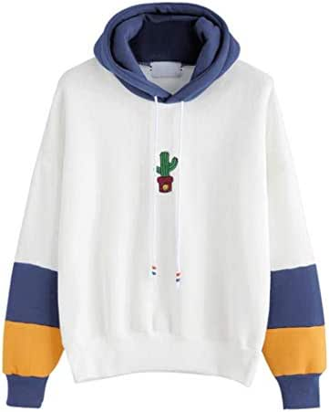 Womens Long Sleeve Sweatshirt, Sttech1 Cactus Print Hoodie Sweatshirt Hooded Pullover Blouse Tops by (M, Blue)