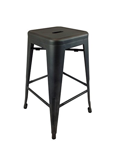 Neos Modern Furniture Creative Images International Gatsby Collection Set of 4 Industrial Metal Bar Stools, Black ()