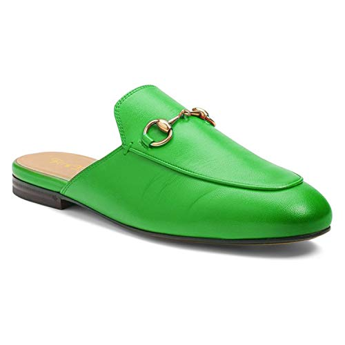 FOWT Women's Round Toe Slip On Loafer Unisex Backless Low Heel Chain Decorated Faux Leather Mules Flats Shoes Comfortable Casual 9 M US Green