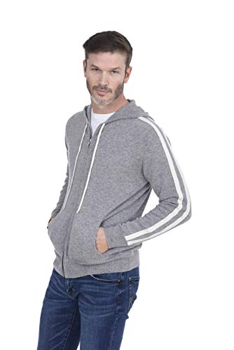 - Cashmeren Men's 100% Pure Cashmere Sport Pullover Hoodie with Pocket (Heather Grey/Ivory, X-Large)