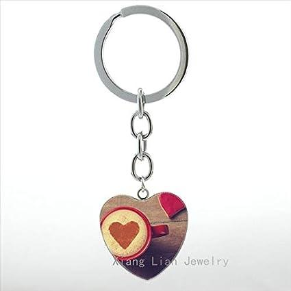 Amazon.com   Key Chains - New Fashion Women Jewelry Glass Cappuccino Heart  Coffee Keychain Leisure Hot Chocolate Art Pendant Key Chain Ring HP276 - by  ... 49448e9d2