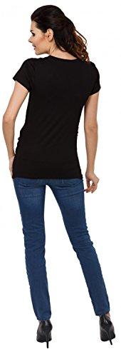 Zeta Ville - Premamá Top Camiseta de lactancia efecto 2 en 1 - para mujer - 790c Negro