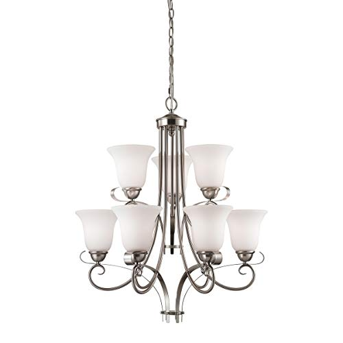 Cornerstone 1009CH/20 Brighton - Nine Light 2-Tier Chandelier, Brushed Nickel Finish with White Glass