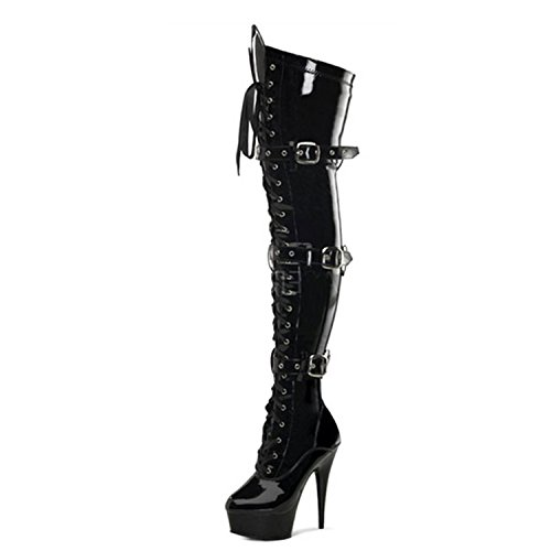 Pu Women's Over Nonbrand Stiletto Black Boots Synthetic Knee Heel fPxq8dwg