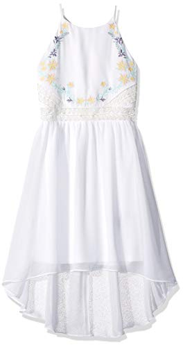 Amy Byer Girls' Big Low High Neck Dress, Ivory, 16 ()