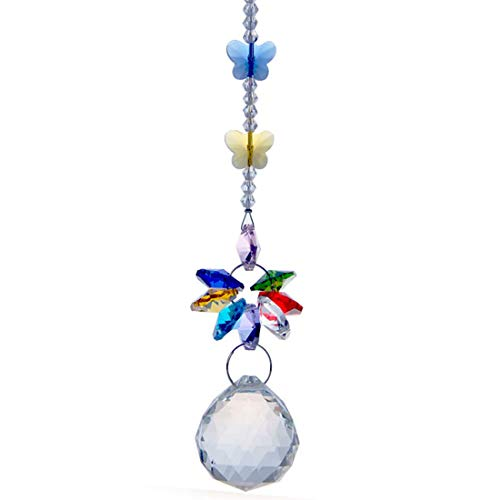H&D Handmade 30mm Crystal Ball Chandelier Prisms Butterfly Ornaments Hanging Suncatcher (Clear)