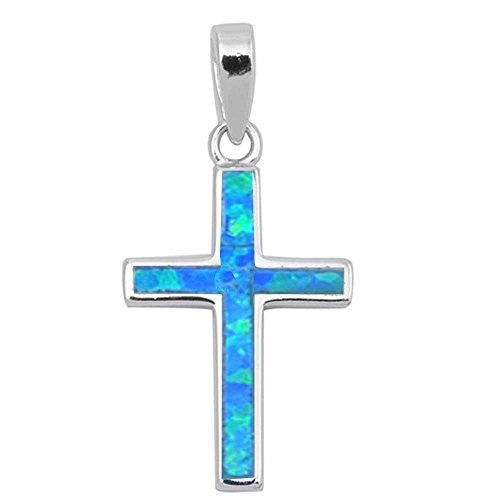 (Solid Lab Created Blue Opal Cross .925 Sterling Silver Pendant (Lab Created Blue Opal) )