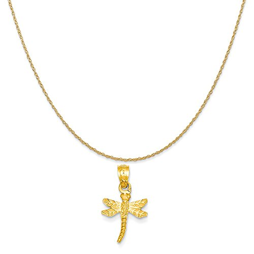 Mireval 14k Yellow Gold Dragonfly Pendant on a 14K Yellow Gold Rope Chain Necklace, 16