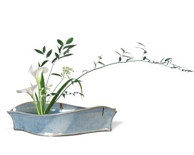 - BestNest Anthony Stoneware Ikebana Plant Tray, Contemporary, French Blue