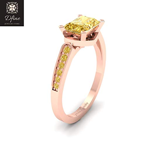 Radiant Cut Yellow Citrine Bridal Wedding Ring Jewelry Solid 18k Rose Gold Promise ()