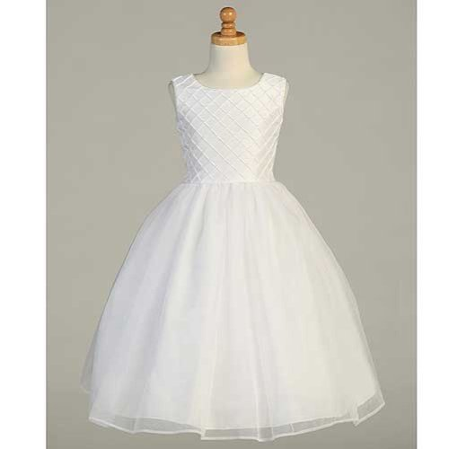 Lito Girls 8 White Shantung Tuck Pearl Accent First Communion Dress
