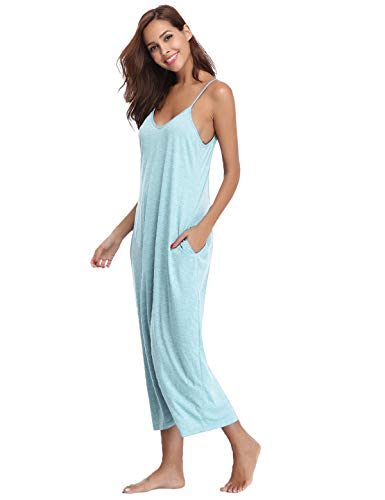 (Abollria Womens V-Neck Spaghetti Strap Maxi Dress Summer Casual Loose Dress with Pockets Beach Cami Long Dress Night Dress (Light Blue, Medium))