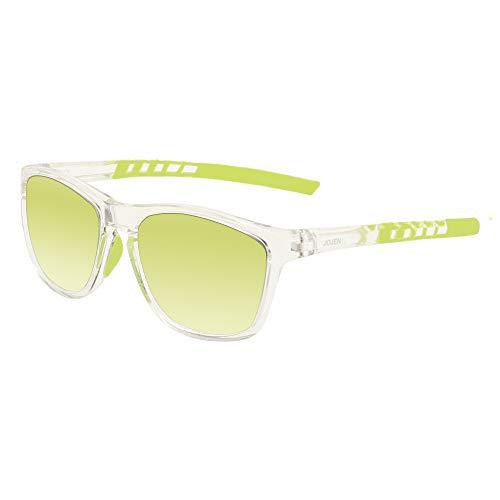 JOJEN Polarized Sports Sunglasses for Men Women Cycling Running Golf JE002 (Transparent Frame Fluorescent Green REVO Lens)