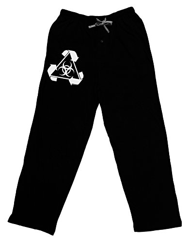 TooLoud Recycle Biohazard Sign Black and White Adult Lounge Pants - Black- -