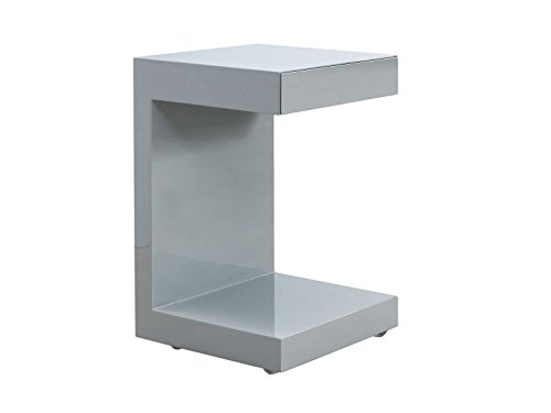 Casabianca Furniture Lino Collection Lacquer Nightstand, Gray